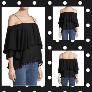 Nwt Philosophy Med Pompom Trim Cold Shoulder Top